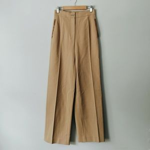PRADA Tan Virgin Wool High Waist Trouser Pants